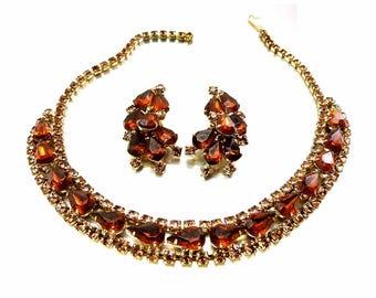 KRAMER 1950s Brown and Amber Crystal Rhinestone Necklace Choker Matching Earrings in KRAMER The Diamond Look Box