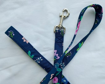 Dainty Petals on Navy Blue-Traffic Leash-Dog Leash- Plaid Leash 3, 4, 5, 6 Foot Leash- Geometric Leash