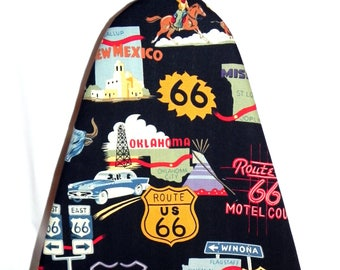 TABLETOP Ironing Board Cover - Route 66 Fabric - Texas Arizona California - Laundry and Housewares - Mothers Day gift idea