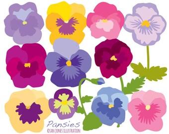 Flower Clip Art - Pansies Clip Art - Floral Illustration