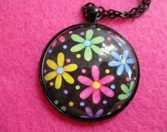 Colorful MOD Flower Power DAISIES Cabochon PENDANT Necklace
