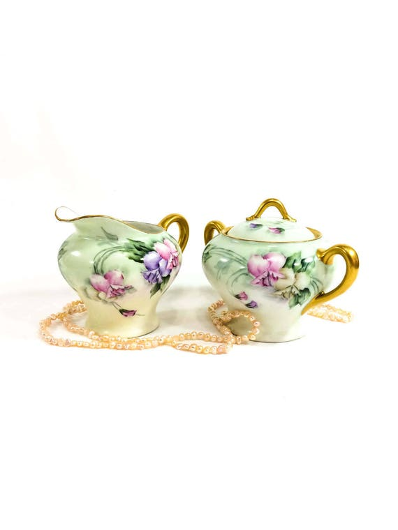 Large Hand Painted Sugar & Creamer Set, Pink Purple Sweet Peas, Gilded Handles and Rims, Signed 1900-1909 Antique KPM China, AS IS