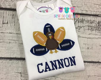 Turkey Football Baby Outfit - Baby Thanksgiving Outfit - Thanksgiving child shirt - Boy thanksgiving shirt - navy and gold football shirt