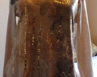 SALE Womens Gold Sequined Top 80's Disco Large