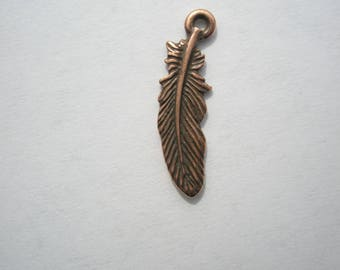 TierraCast Small Feather Charm, Copper Plate - 23x6.75mm - 1