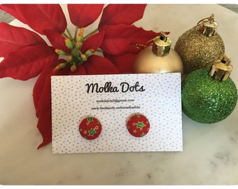 Red Christmas Earrings. Christmas Holly. Red and Green Earrings. Handmade Earrings. Fabric Button Earrings. Stud Earrings. Clip On Earrings.