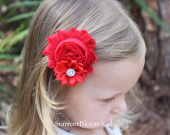 Red hair bows, girls toddler hair bow, Valentines hair bows, toddler girl gift red hair accessory, red flower girl hair clips girls hairbows