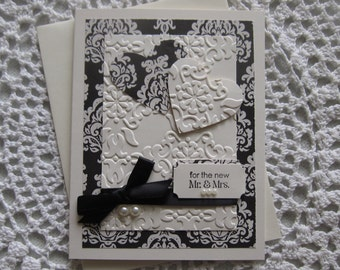 Handmade Greeting Card: Wedding/Marriage in Traditional Black/Ivory Colors