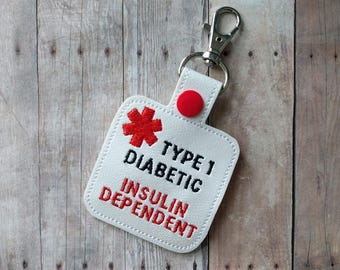 Diabetic Alert Key Chain, Embroidered on White Vinyl with Red Snap, Insulin Alert, Clip to Bag, Backpack, Purse, Choice of Hardware
