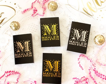 Monogram Matches Wedding Matches Wedding Match Boxes Personalized Matches Foil Stamped Matches Custom Matchbooks Wedding Favors for Guests