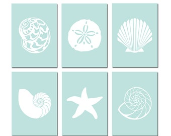 Seashell Bathroom Art Seashell Bathroom Decor Beach Bathroom Decor Beach Bathroom Art Beach House Decor Set of 6 Prints - CHOOSE YOUR COLORS