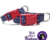 Nautical Dog Collar / Anchor Dog Collar / Dog Collar and Leash / Adjustable Collar / Red / White / Blue / Come Sail Away Patriotic