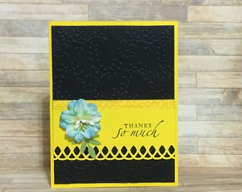 Thank you card, blank inside, flower, yellow, greeting card, handmade card, occasion card