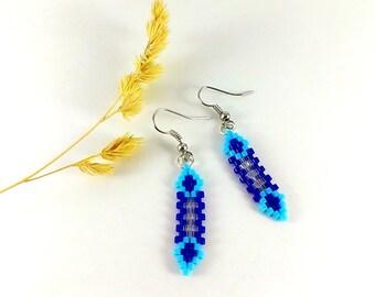 Statement Jewelry Small earrings Navy blue earrings Sky blue Wedding jewelry Blue elvish jewelry Evening earrings Prom earrings Thank you