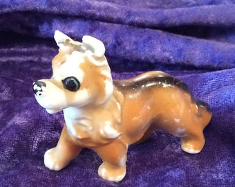 Antique Miniature Bone China Collie Dog Figurine,  Collectible Figure, Hand painted , 1950s, Lassie