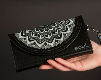 Womens leather wallet. Womens wallet. Black leather wallet. Original wallet. Big leather wallet. Handmade. Painting. Mandala. FREE SHIPPING!