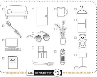Printable HOME SCAVENGER HUNT 2 Illustrated Kid's