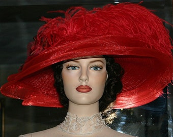 Kentucky Derby Hat Ascot Edwardian Tea Hat Titanic Hat Somewhere in Time Hat Downton Abbey Hat Women's Red Hat - Lady Ophelia