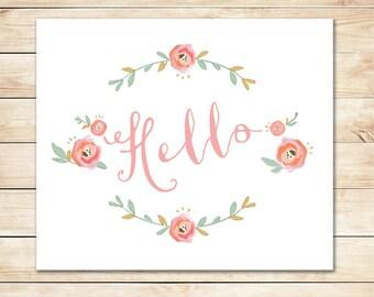 Printable Hello Card - Instant Download Card - Hello