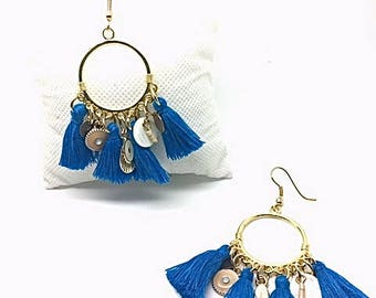 Blue and gold tassel earrings