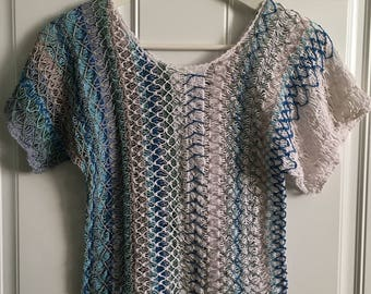 Women's vintage 80's blue and taupe hues cable knit batwing short sleeve blouse