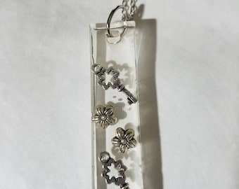 Resin necklace keys flowers fun unique
