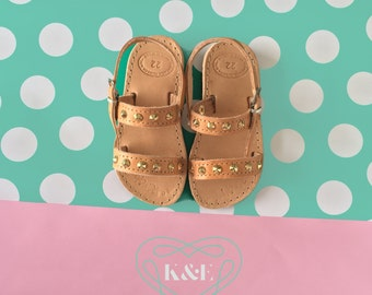 Child Greek Summer Leather Double Strap style Children Sandals - Gold Studded Detail