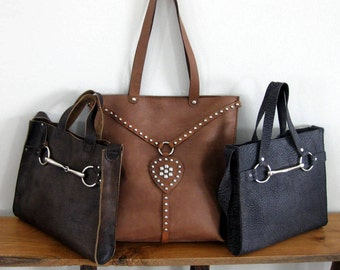 Equestrian Large Leather Vintage Harness Tote Bag with Silver Studs by Stacy Leigh READY TO SHIP