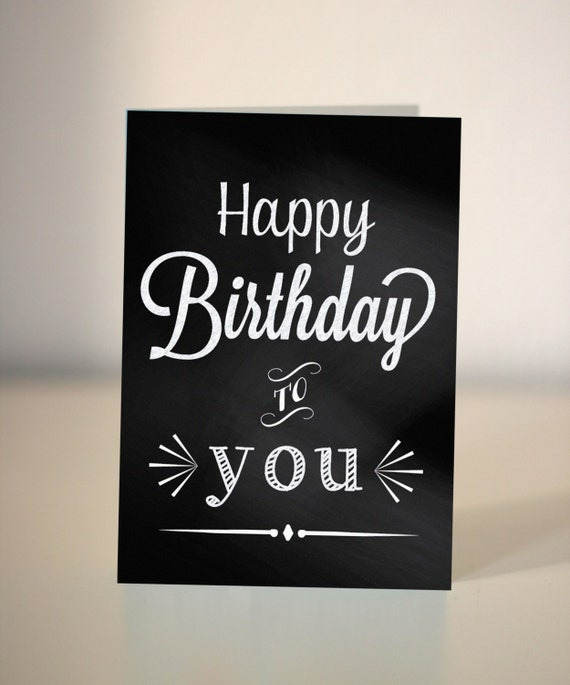 Happy Birthday Chalkboard Card Vintage Style