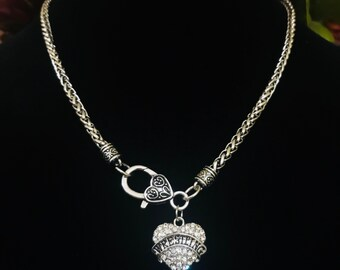 Wrestling Bling Necklace~Sports Crystal Pendant~Rhinestone Heart~FAST Shipping from the USA~