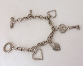 Vintage 1970's Key to Your Heart Charm Silver Chain Bracelet