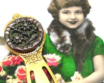 Antikes Schaltfläche Lesezeichen, viktorianischen Blumenknopf auf Gold. einzigartiges Geschenk, Geschenk, Strumpf Stuffer.