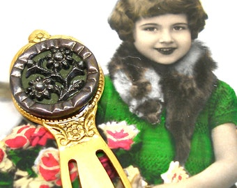Antique BUTTON bookmark, Victorian flower button on gold. unique present, gift, stocking stuffer.