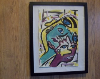 mixed media painting faces weird art outsider art big eyes lips colorful art abstract painting