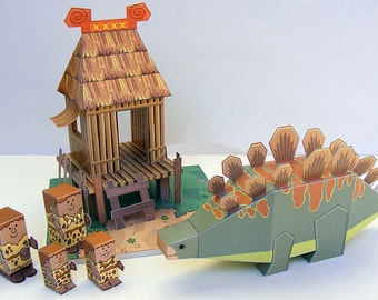 Dino MiniWorld paper toys - The House. Cut, assemble and play. Instant download.