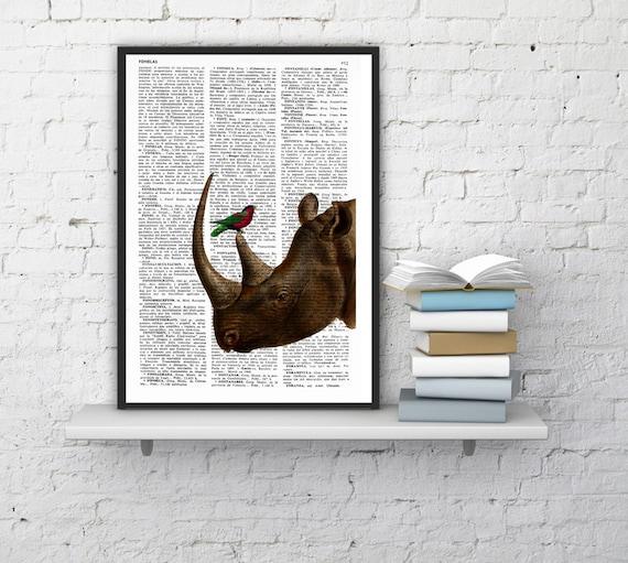 Rhino and little bird Illustration poster dictionary page Wall hanging Giclee Print Animal Portrait print rhino ANI072