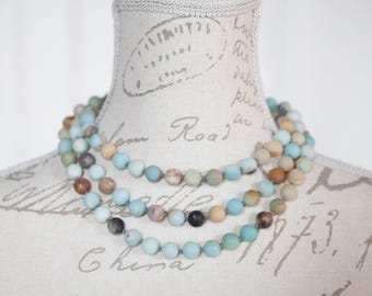 Very long Amazonite necklace / Long earth necklace / Hand knotted Amazonite bead necklace