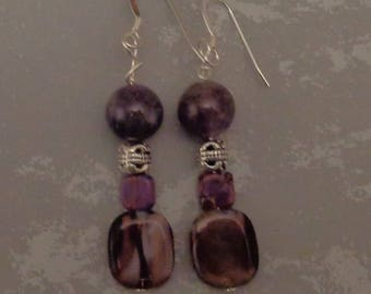 Purple and Silver Boho Earrings