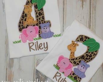 Jungle birthday shirt, Safari Birthday shirt, Zoo Birthday shirt, Jungle Animal shirt, Zoo animal shirt, sew cute creations