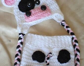 Baby Cow Prop/ Baby Girl Prop/ Crochet Newborn Prop/ Baby Cow Photo Prop/ Cow Hat and Shorts