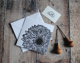 Sunflower Greeting Card & Envelope   Hand Printed Original Lino Print