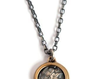 Roman Coin Medallion in 14K Gold and 925 Sterling Silver for Men or Women