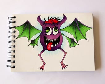 Sm Drawing / Sketch book - aprox 100 sheets - bat, monster, ghoul, A5