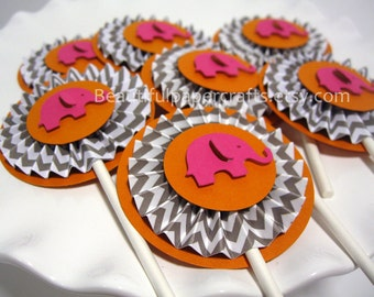 Gray Chevron Rosettes Cupcake Toppers- Elephant Hot Pink Orange Baby Shower Decorations..Set of 12