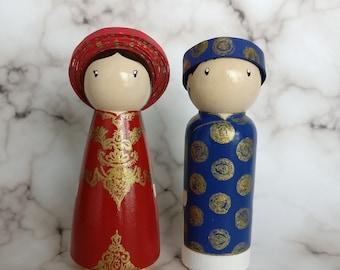 Custom Vietnamese wedding peg doll cake toppers