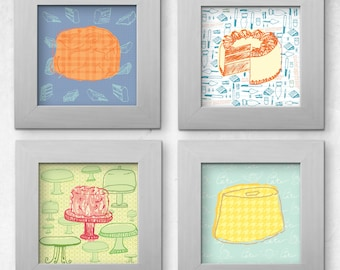 Printable Set of 4 Cake Illustration