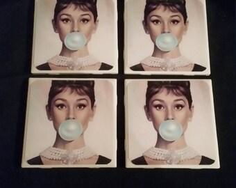 Audrey Hepburn Coasters- set of four