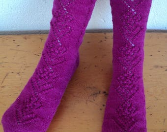Hand knitted, hand dyed, hand spun, 4ply wool socks, women's