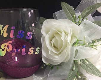 Miss Priss Holographic Monogrammed Glitter Dipped Glass