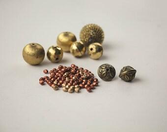 Golden bead destash Brass Metal beads Small metallic beads Gold orange Fall autumn colours Jewellery making Craft supplies Reclaimed salvage